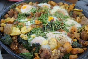 Sausage Hash with Poached Eggs served at Farmer Lunch! Photo by Rose Wall