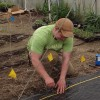 Guy installing new weed barrier in the hoophouse....