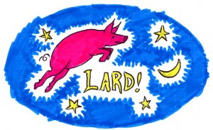 Lard Pig jumping over the moon label