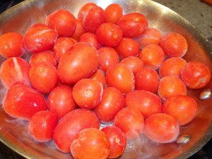 Frozen Juliette Tomatoes in the Saute Pan