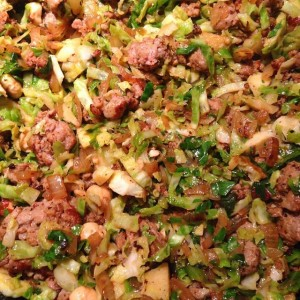 Alexa's Sprout/Sausage Hash, Yum!