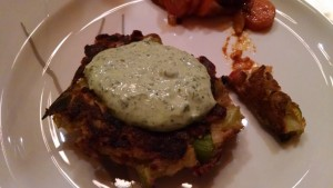 leek fritter with herbed sauce