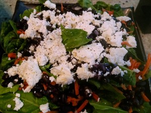 spinach chevre black bean salad
