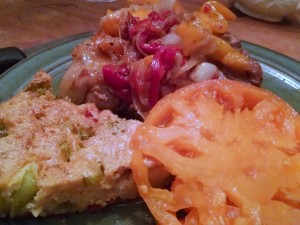 Broccoli pie served with Pork Chops with peppers and onions and a sliced yellow Brandywine!