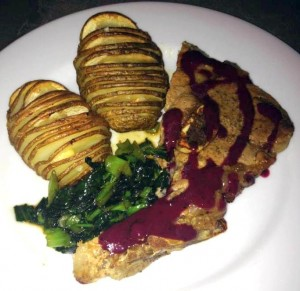 hasselback potatoes and pork chops with black currant gastrique