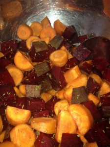 Chopped Beets & Carrots, for Root Veggie Bread Pudding