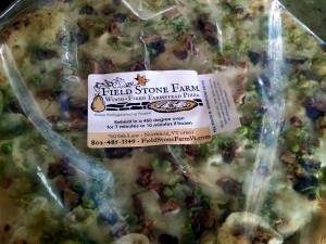 field stone pizza pea pesto our bacon in bag with label