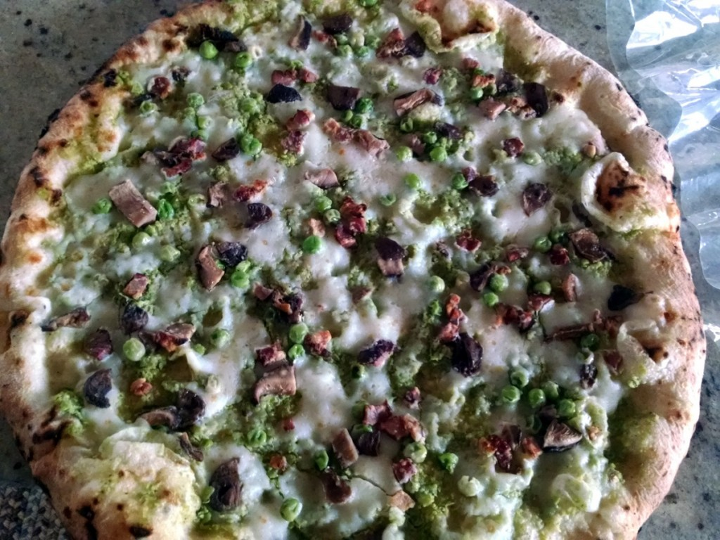 field stone pizza pea pesto shroom our bacon