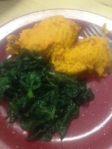 Carrot Souffle with Sauteed Spinach