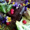 spring salad with flowers and currants