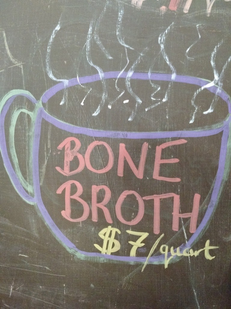 bone broth market sign