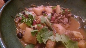 mexican goat stew with fresh cilantro
