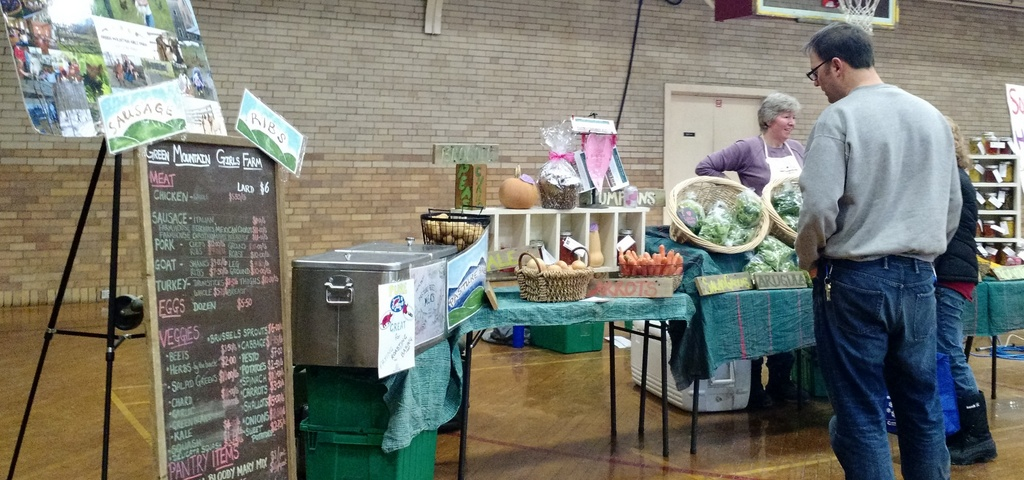 winter farmers market with donna and customers